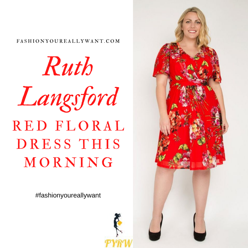 Where to get all Ruth Langsford This Morning outfts blog July 2020 red floral v neck midi dress with short sleeves