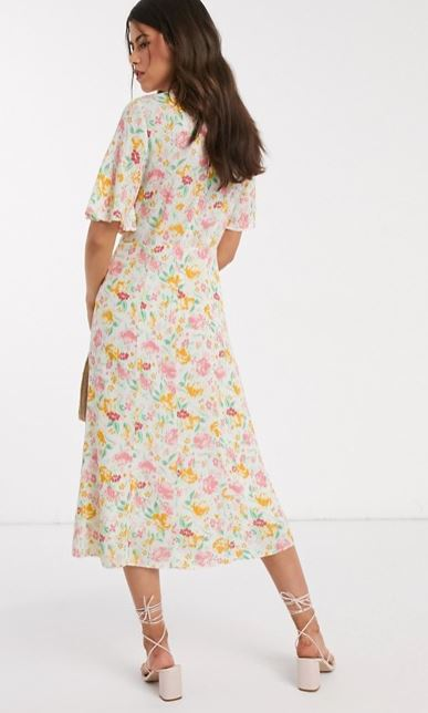 Warehouse Floral Print Angel Sleeve Dress back view