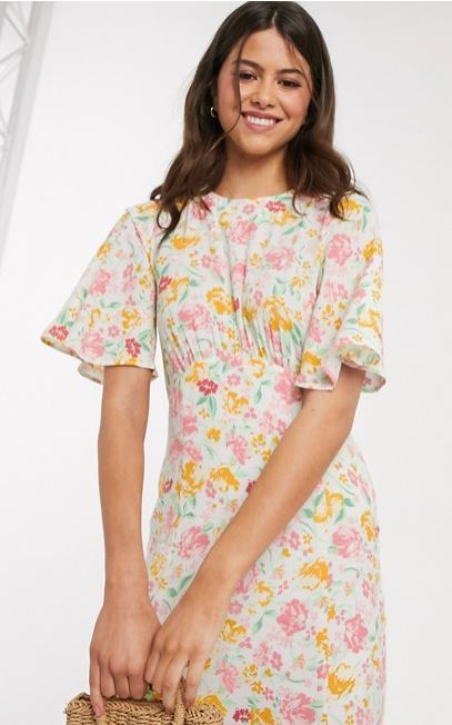 Warehouse Floral Print Angel Sleeve Dress