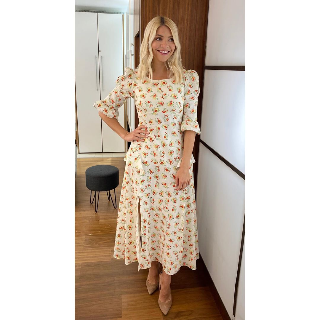 where to get all Holly Willoughby This morning dresses ecru floral midi dress 10 July 2020 Photo Holly Willoughby
