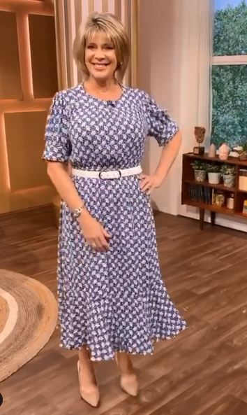 where to get all Ruth Langsford this Morning dresses blue and white print dress 28 July 2020 Photo Ruth Langsford