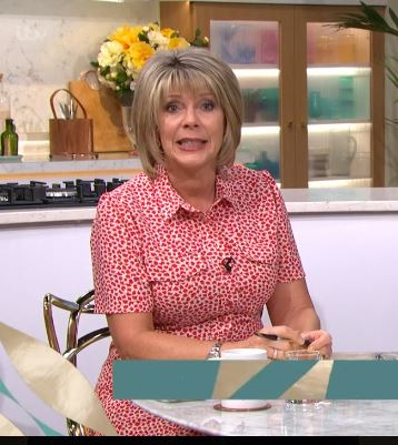 where to get all Ruth Langsford This Morning dresses red and white geo print shirt dress 29 July 2020 Photo ITV