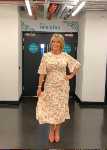 where to get all Ruth Langsford This Morning dresses white angel sleeve floral print dress 30 July 2020 Photo Ruth langsford