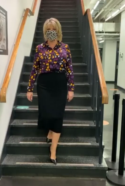 where to get all Ruth Langsford This Morning outfits black purple yellow abstract print shirt 27 July 2020 Photo Ruth Langsford