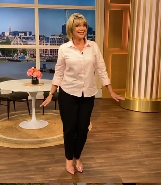 where to get all Ruth Langsford this Morning outfits pink shirt black trousers snakeskin shoes 20 July 2020 Photo Ruth Langsford