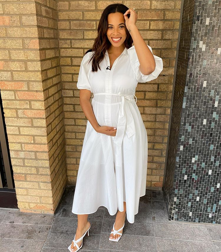 where to get Rochelle Humes This Morning white shirt dress white sandals 17 July 2020 Photo rochelle Humes