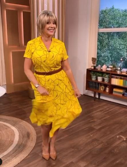 where to get Ruth Langsford This Morning dresses yellow chain print shirt dress 16 July 2020 Photo Ruth Langsford