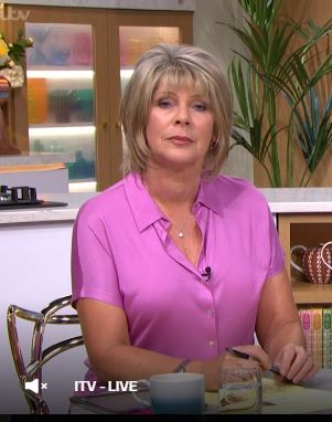 where to get Ruth Langsford this Morning pink top shirt black trousers 15 July 2020 photo ITV
