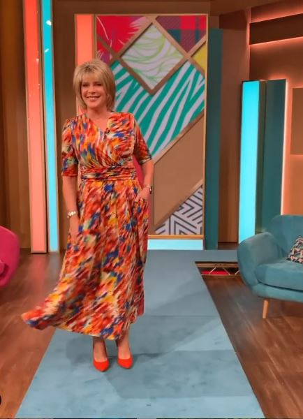 where to get Ruth Lansford This Morning dresses orange multi maxi dress 21 July 2020 Photo Ruth Langsford