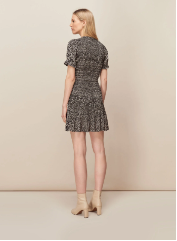 Whistles Yasmin Spot Shirred Dress back view