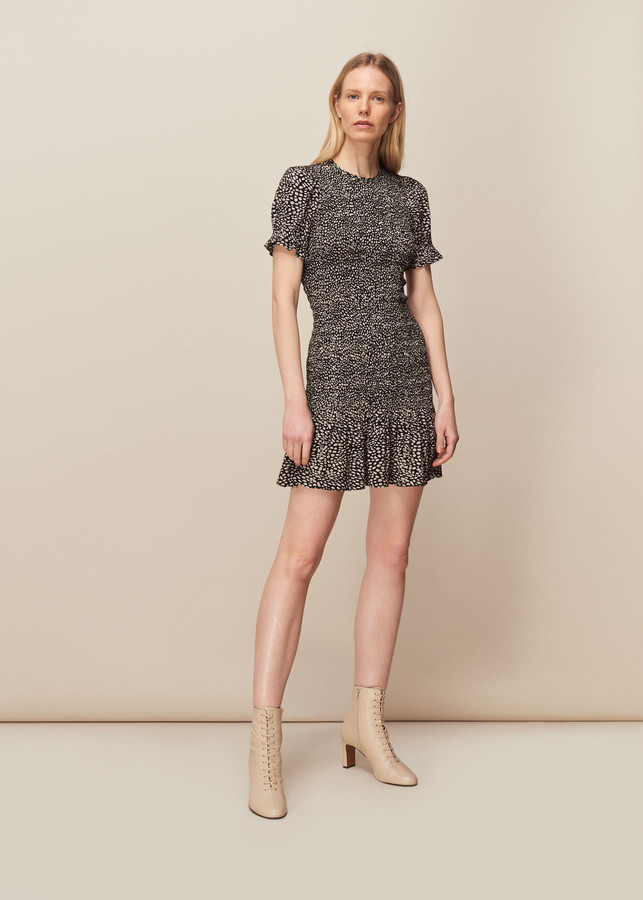 Whistles Yasmin Spot Shirred Dress