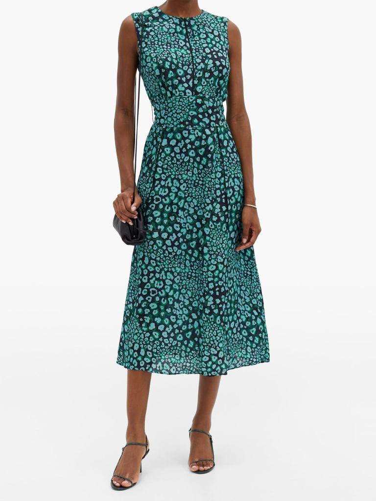 CEFINN Rosie Leopard Pansy-print crepe dress