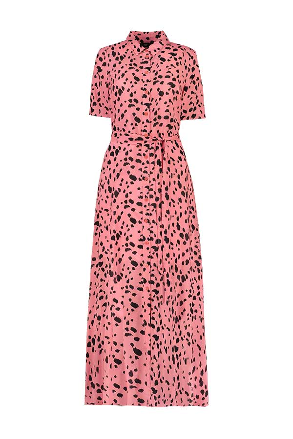 F&F Midi Shirt Dress in Pink Brush Stroke