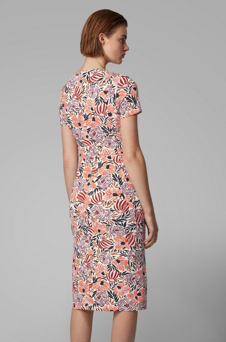 Hugo Boss Floral-print jersey dress with asymmetric ruching back view