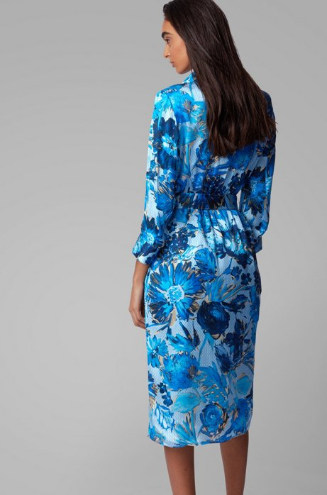 Hugo Boss Monogram shirt dress in pure silk with floral print back view