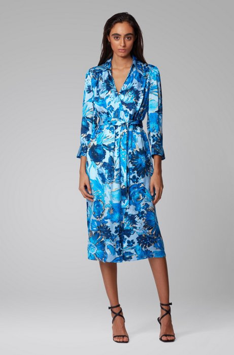 Hugo Boss Monogram shirt dress in pure silk with floral print