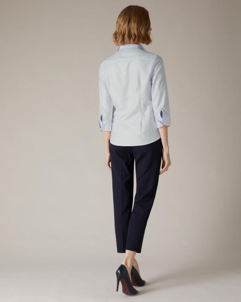Jaeger Light Blue Herringbone Cotton Shirt back view