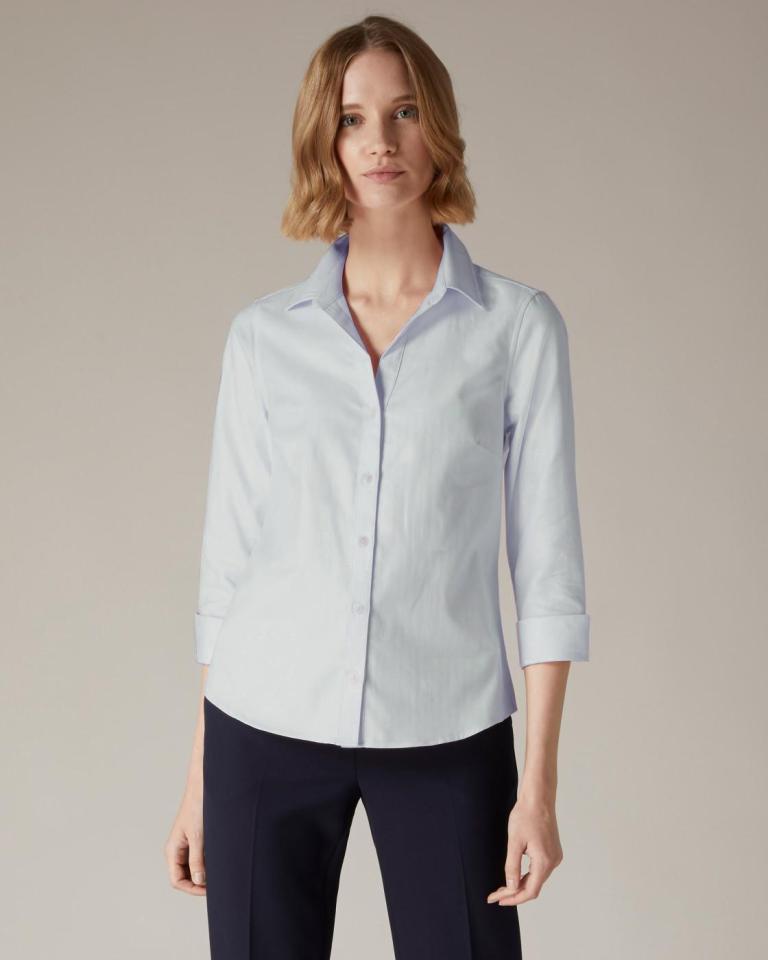 Jaeger Light Blue Herringbone Cotton Shirt
