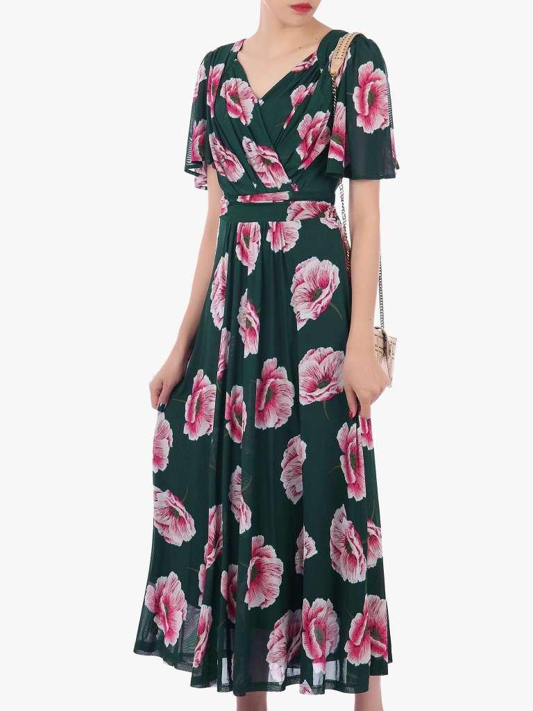 Jolie Moi Floral Print Mesh Maxi Dress (1)