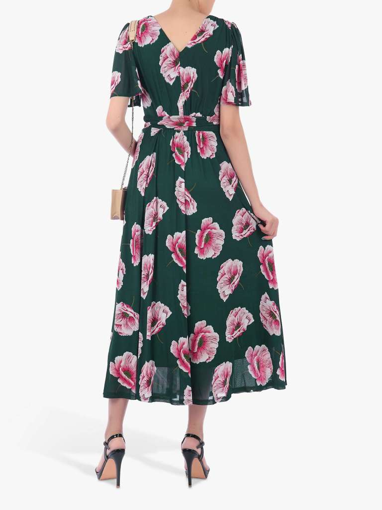 Jolie Moi Floral Print Mesh Maxi Dress back view