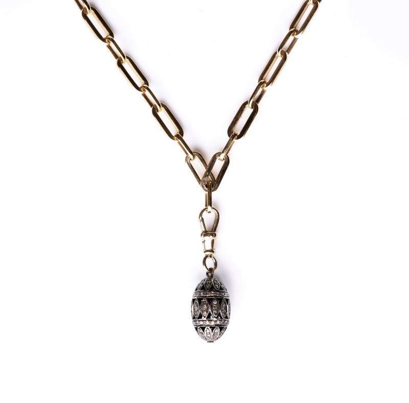Kirstie le Marque Pavé Diamond Egg Necklace