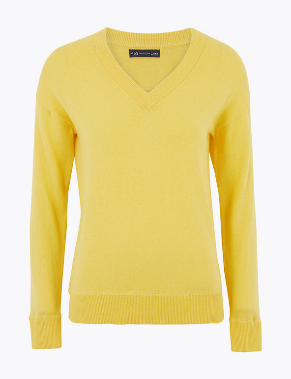 M&S Collection Cotton V-Neck Relaxed Jumper with Cashmere
