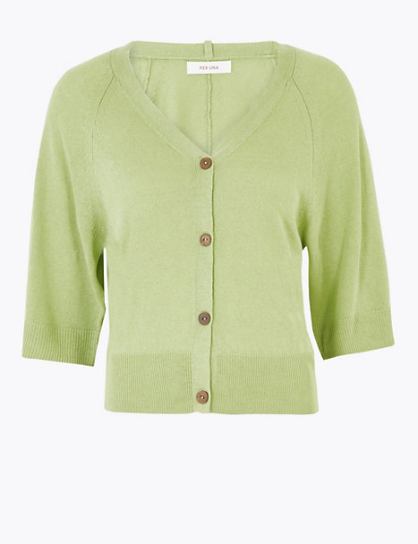 Per Una Ribbed Button Front Cropped Cardigan Citrus