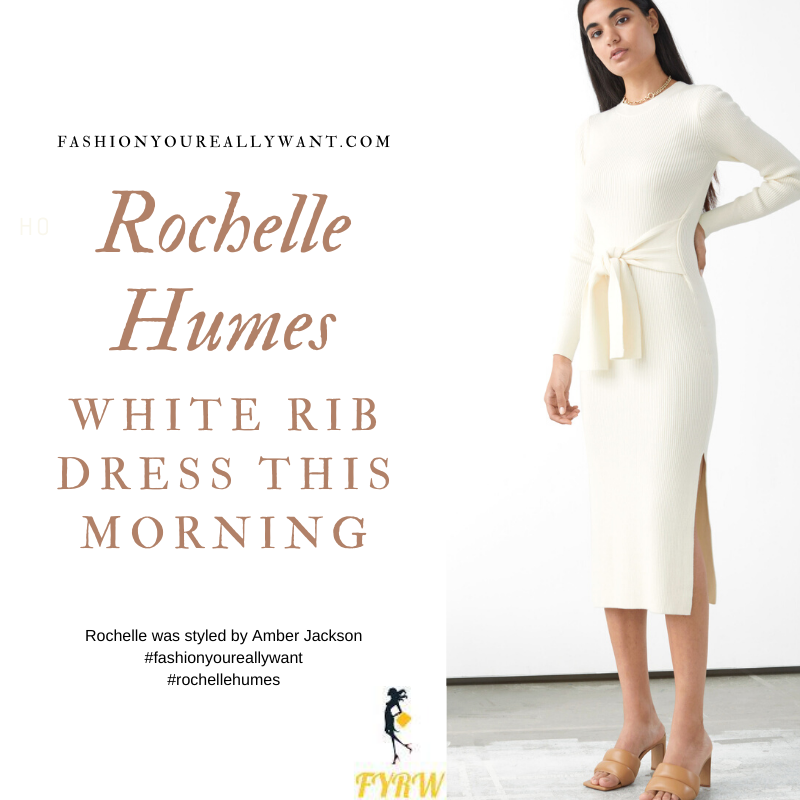 Where to get all Rochelle Humes This Morning outfits blog August 2020 white knit rib midi dress tan mules