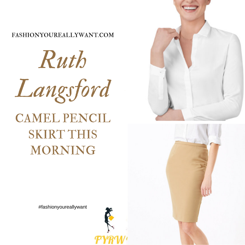Where to get all Ruth Langsford This Morning outfits blog August 2020 white shirt beige camel pencil skirt leopard court shoes