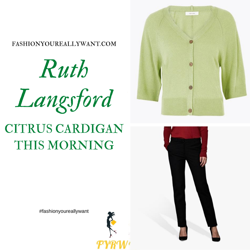 Where to get all Ruth Langsford This Morning outfits blog August 2020 green cardigan black tousers snakeskin court shoes