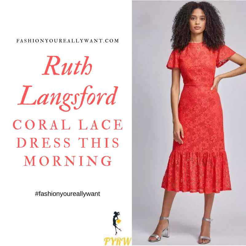 Where to get all Ruth Langsford This Morning outfits blog August 2020 red orange coral lace short sleeve midi dress
