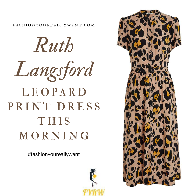 Where to get all Ruth Langsford This Morning outfits blog August 2020 oversized leopard print shirt dress short sleeves