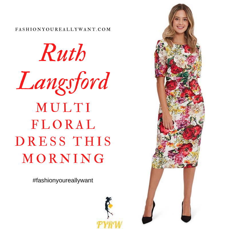Where to get all Ruth Langsford This Morning outfits blog August 2020 multi poppy floral short sleeve dress