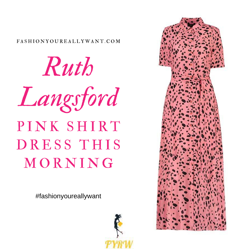 Where to get all Ruth Langsford This Morning outfits blog August 2020 pink spot dot brush stroke shirt dress nude court shoes