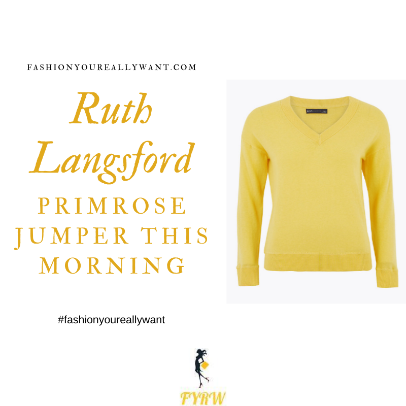 Where to get all Ruth Langsford This Morning outfits blog August 2020 yellow v neck jumper black trousers black court shoes
