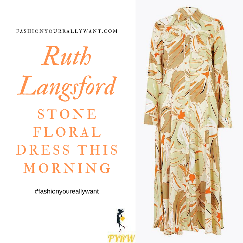 Where to get all Ruth Langsford This Morning outfits blog August 2020 stone floral midi shirt dress suede court shoes