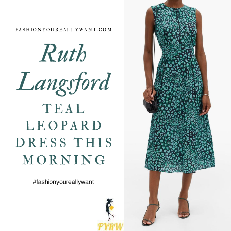 Where to get all Ruth Langsford This Morning outfits blog August 2020 black teal green leopard pansy print sleeveless dress