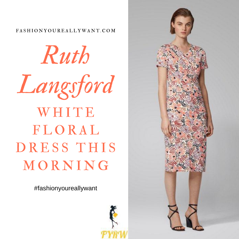 Where to get all Ruth Langsford This Morning outfitsd blog white floral print dress pink suede court shoes