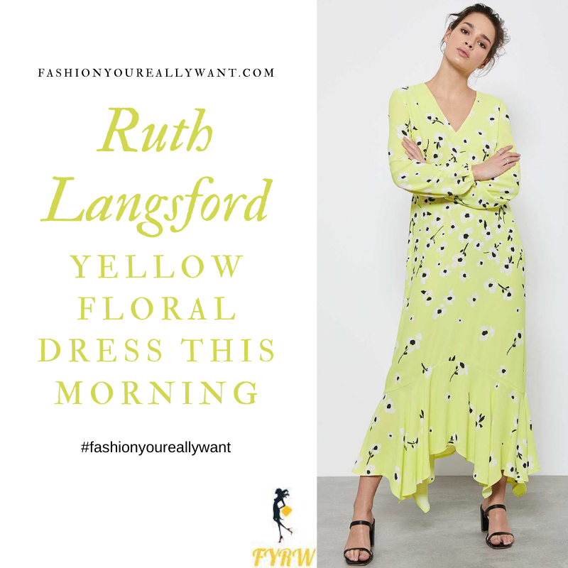 Where to get all Ruth Langsford This Morning outfits blog August 2020 yellow midi dress white flowers floral long sleeve