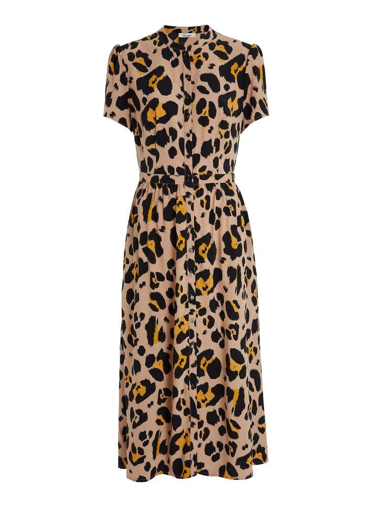 Somerset by Alice Temperly Oversized Leopard Print Shirt Dress