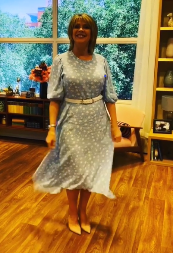Where to get all Ruth Langsford This Morning outfits blog August 2020 blue and white daisy dress nude court shoes