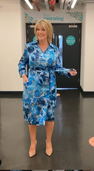 where to get all Ruth Langsford This Morning dresses blue floral shirt dress 6 August 2020 Photo Ruth Langsford