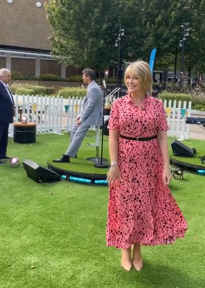 where to get all Ruth Langsford This Morning dresses pink and black spot print dress 24 August 2020 Photo Ruth Langsford