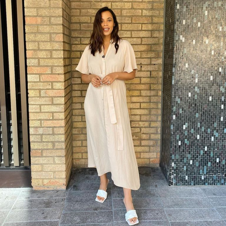 where to get Rochelle Humes This Morning outfits beige shirt dress 7 August 2020 Photo Rochelle Humes