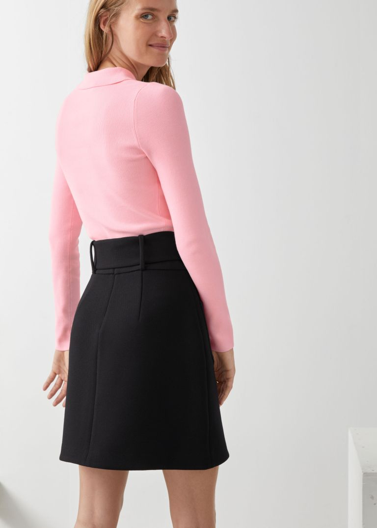 And Other Stories Belted mini skirt back view