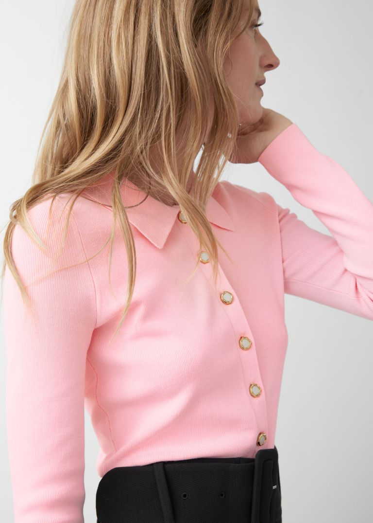 And Other Stories Polo Collar Button Up Sweater