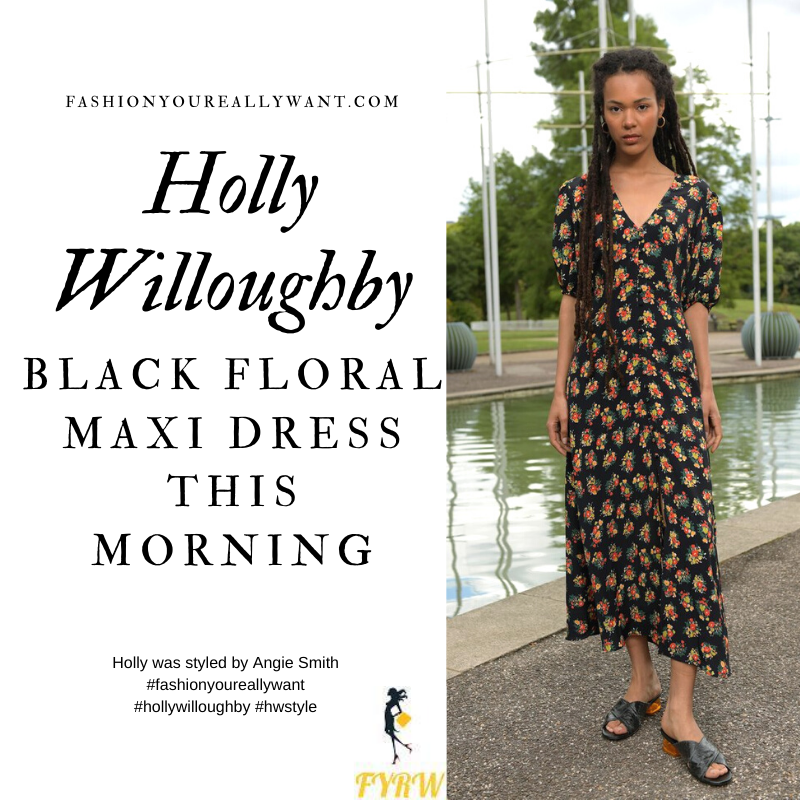 Where to get all Holly Willoughby This Morning outfits blog September 2020 v neck black floral maxi dress black court shoes