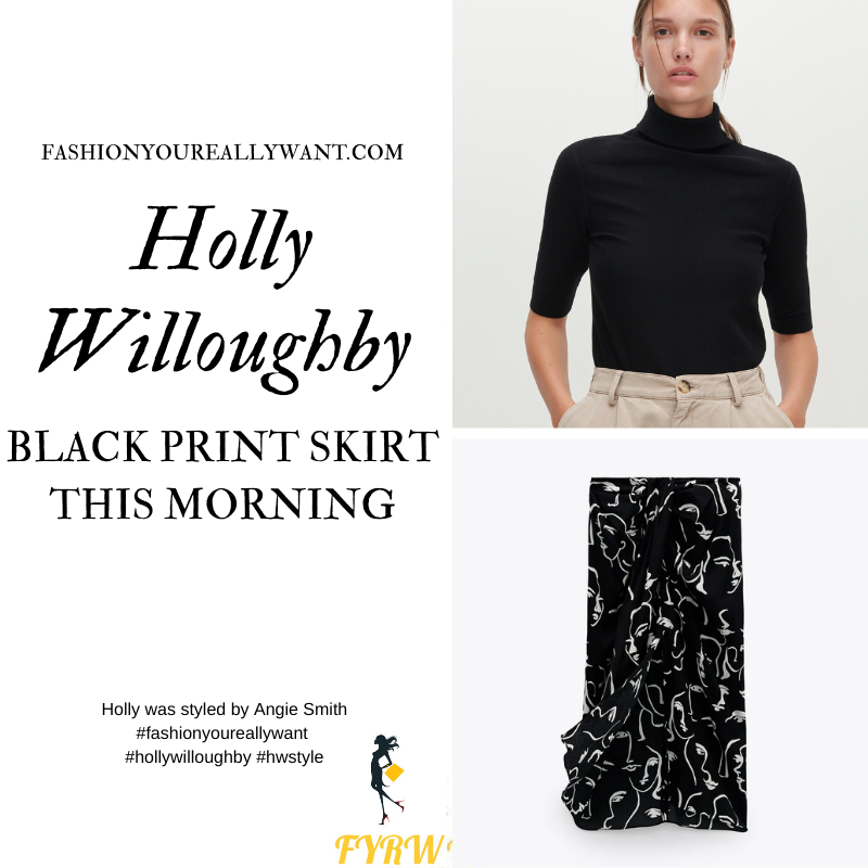Where to get all Holly Willoughby This Morning outfits blog September 2020 black polo eck with short sleves black and white face print knot front skirt black suede court shoes