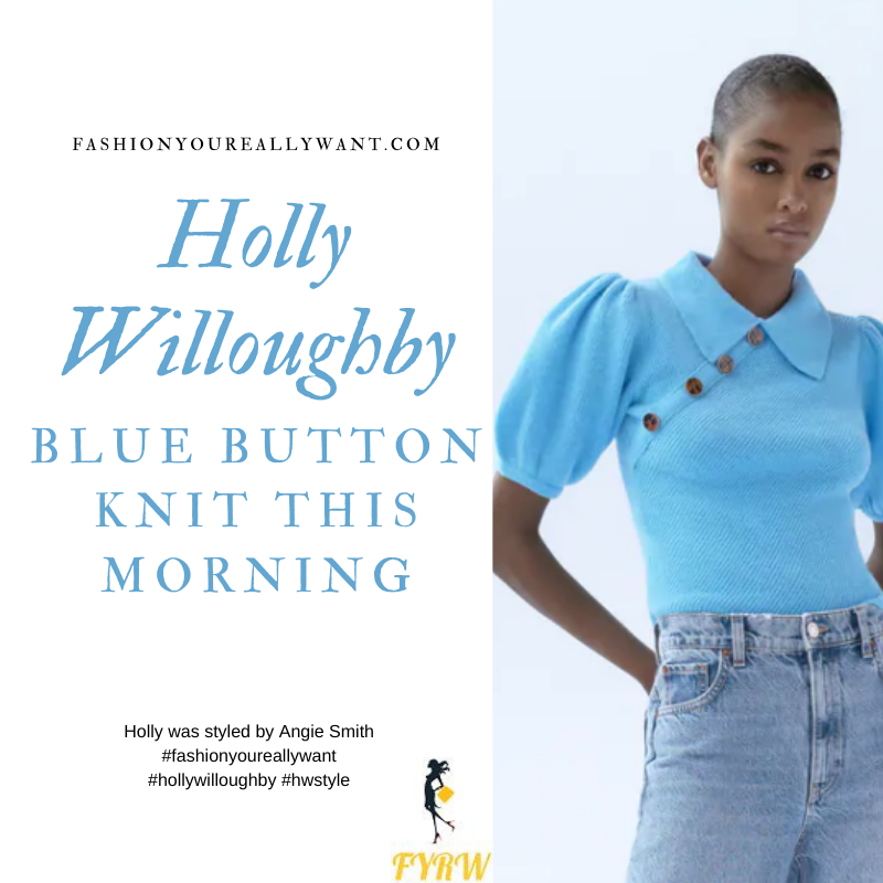 Where to get all Holly Willoughby This Morning outfits blog September 2020 blue short sleeve knit with shoulder buttons black skirt black court shoes