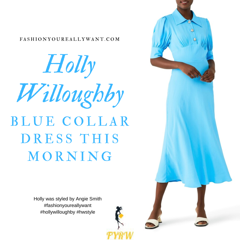 Where to get all Holly Willoughby This Morning outfits blog September 2020 blue midi dress with collar and buttons short sleeves nude suede court shoes